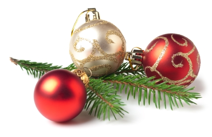 Christmas Baubles with young Spruce tree branch. This file is cleaned, retouched and contains clipping path.